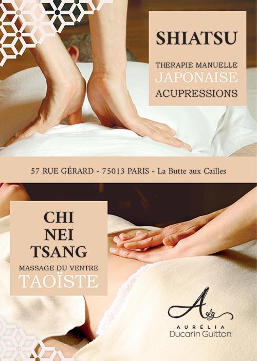 Le flyer illustrant les pratiques du shiatsu et du chi nei tsang